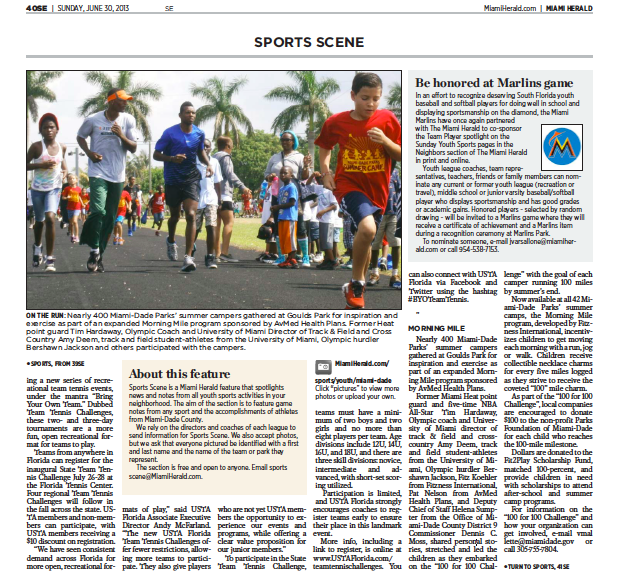 ANOTHER Great Morning Mile Feature in the Miami Herald